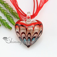 Wholesale Murano Love Heart Pendant - valentine's day heart love foil lines lampwork murano Italia glass necklaces with pendants jewelry Fashion jewellery mup156