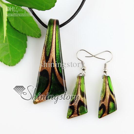 Couteau paillettes Murano Italien pendentifs et boucles d'oreilles en verre vénitien ensembles de bijoux Mus045 colliers bijoux de mode