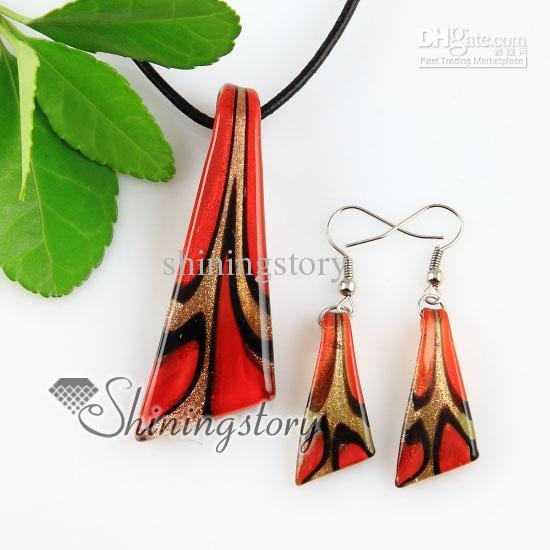 coltello glitter lampwork murano ciondoli e orecchini in vetro di Murano italiano fatti a mano gioielli set Mus045 collane di gioielli di moda