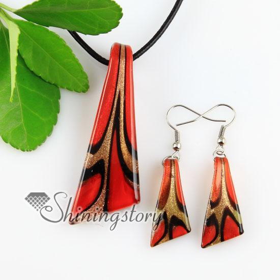 best selling knife glitter lampwork murano Italian venetian handmade glass pendants and earrings jewelry sets Mus045 fashion jewelry necklaces