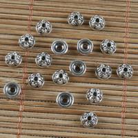 tibet boncukları kapakları toptan satış-200 adet Tibet gümüş küçük desen boncuk caps H0268