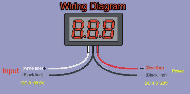 wiring diagram voltmeter car wiring image wiring 3 wire dc0 100v dc0 99 9v red led digital display voltage panel on wiring diagram