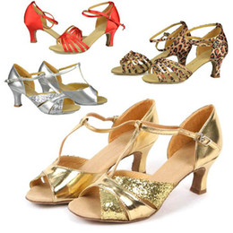 Wholesale Ladies Leopard Heels - Women Lady Girl Shiny Leopard Classic Tango Ballroom Latin Salsa Dance Heels Shoes Soft Sole # L0351