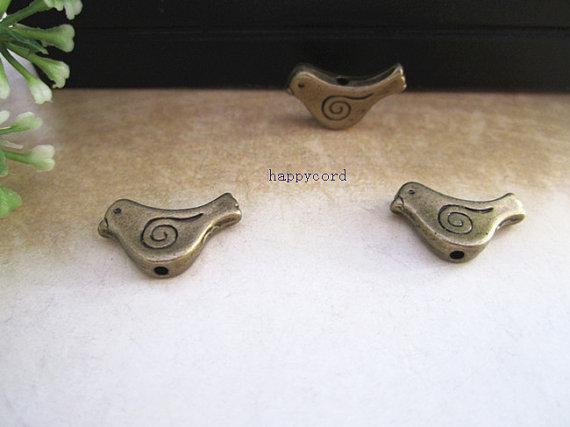 7x15mm Antik Brons Bird Pendant Charms Connector 100pcs / Lot