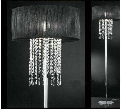 modern fashion k9 crystal floor lamp black fabric covering bedroom study room lamp dia 50cm from artemide dhgatecom