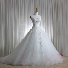 Wholesale Sweetheart Strapless Ruched Dress - New Luxury Sexy Sweetheart Strapless Applique Beaded Chapel train Tulle Wedding Dresses Wedding dress Bridal Gowns Dress Lace up