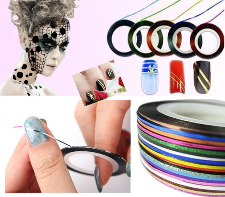 Roll striping tape line nail art decoration sticker nails with see larger image prinsesfo Choice Image