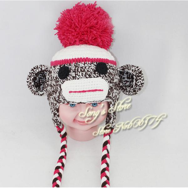 2019 Kids Party Hat Crochet Sock Monkey Hat With Pompom Top In Red