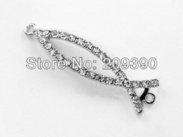 Wholesale Charms Beads Sideway - DIY 30pcs Silver Plated Curved Sideway Rhinestone Crystal Jesus Fish Bracelet Connector Charm Beads