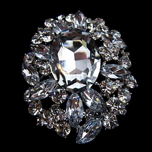 2 gran tamaño impresionante cristal claro del Rhinestone y broche nupcial de la boda
