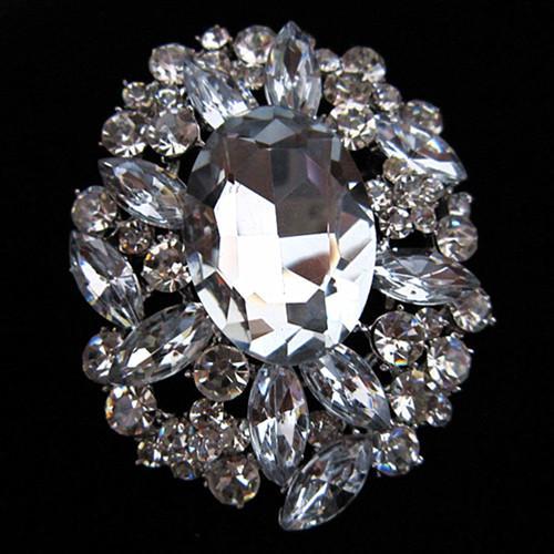 2 große Größe atemberaubende klare Strass Kristall und Braut Hochzeit Brosche