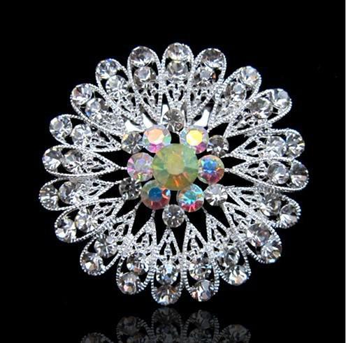 은 도금 한 합금 및 명확한 모조 다이아몬드 수정 Diamante Brooch Pin