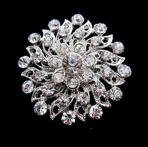 1.2 인치 아름다운 실버 색상 클리어 라인 석 크리스탈 Diamante 작은 꽃 웨딩 드레스 핀 브로치 선물