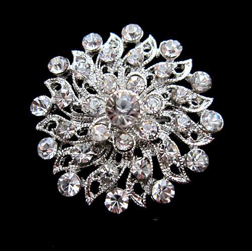 1,2 Zoll Schöne Silberne Farbe Klar Strass Kristall Diamante Kleine Blume Hochzeit Kleid Pin Brosche Geschenke