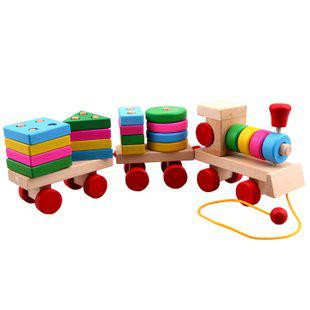 Colorful baby wooden toy pull train wood building blocks toys