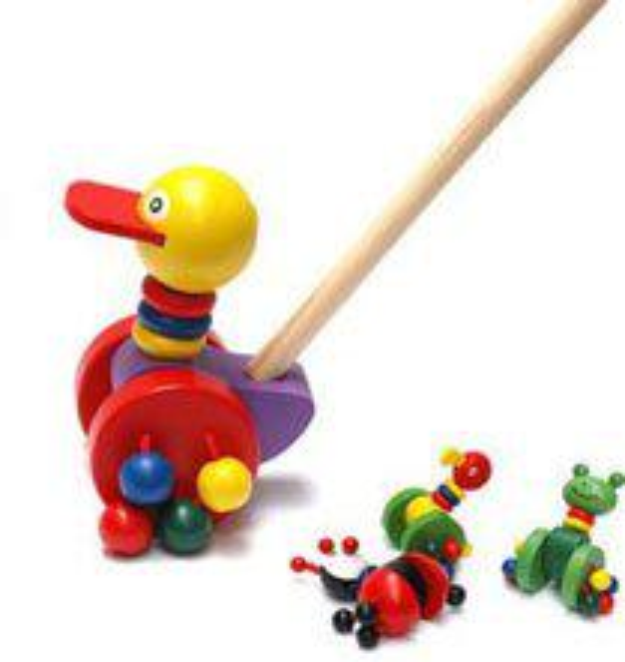 Animaux colorés en bois poussent le chariot de jouets pour bébé