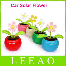 Wholesale Solar Plastic Flowers - 100pcs lot With Retail Package Flip Swing Flap Solar Sun Powered Flower Car Toy Gift Free Shipping