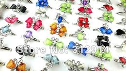 Wholesale Adjustable Acrylic Rings - Wholesale Jewelry Lot 30 Pcs Crystal Resin Rhinestone Adjustable Rings Mixed Lots