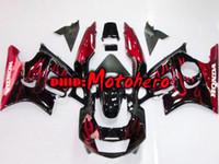 Wholesale Ems Free Fairings - EMS FREE black red falme fairing kit for HONDA CBR600F3 97 98 CBR600 F3 1997 1998 97-98 +windshield