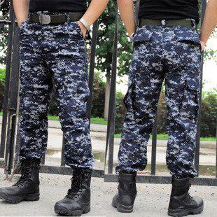 2017 Men Outdoor Combat Trousers Army Cotton Blue Digital ...