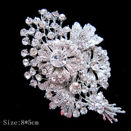 Wholesale Clear Boutique - Large Silver Plated Clear Rhinestone Diamond Crystal Bunch Flower Boutique Brooch