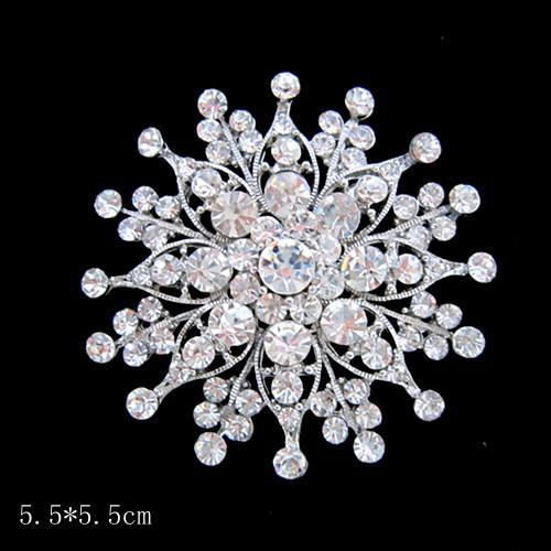 Stor storlek silverpläterad Clear Rhinestone Crystal Vintage Diamante Bröllop Brosch Pin