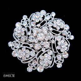 Wholesale Wholesale Wedding Cake Crystals - Silver Tone Alloy Rhinestone Crystal Vintage Look Flower Wedding Cake Brooch