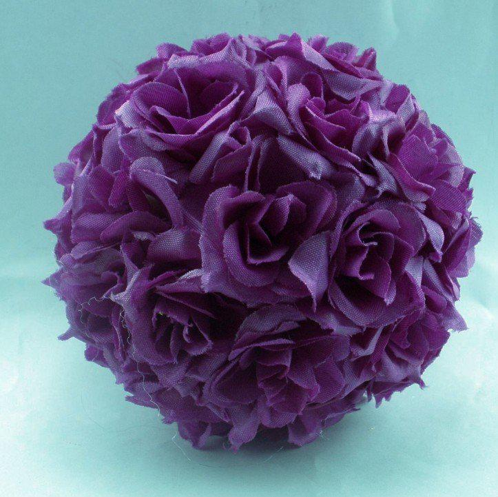 Purple Balls For Decoration Inspiration Hot  Purple Silk Rose Flower Kissing Ball Wedding Decoration 5 Inspiration