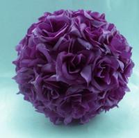 ingrosso decorazione palla rosa viola-Caldo ! Decorazione di cerimonia nuziale della sfera di bacio di seta viola del fiore della rosa 5 '' (00812)