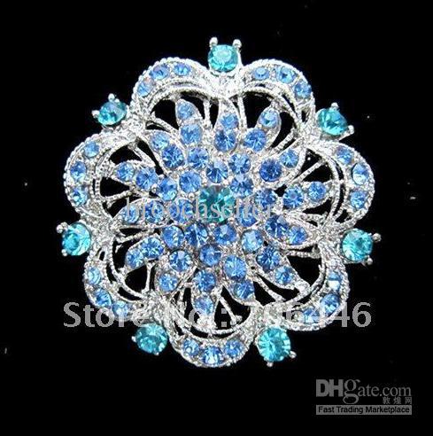Banhado a prata grande strass azul de cristal Rould broche de noiva floral