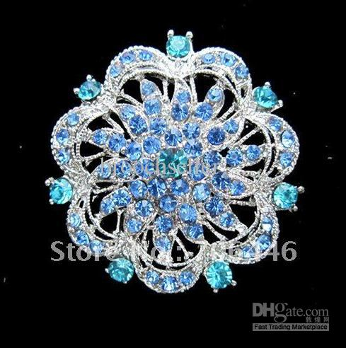 실버 도금 대형 블루 라인 석 크리스탈 Rould 꽃 신부 브로치