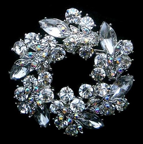 2 인치 로듐 은색 톤 고유의 꽃 클리어 라인 석 크리스탈 Diamante 화환 파티 브로치 핀 선물 빈티지