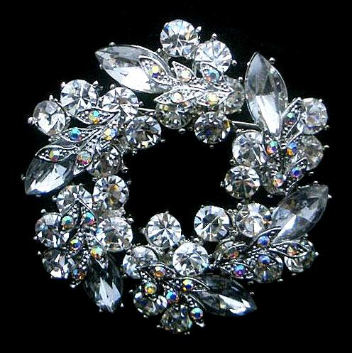 2 Inch Rhodium Silver Tone Unique Flower Clear Rhinestone Crystal Diamante Wreath Party Brooch Pin Gifts Vintage