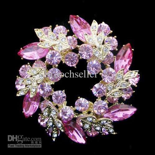 Gold plattiert einzigartige Blume rosa Crystal Wreath Brosche Schmuck
