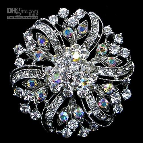 2 polegadas de ródio prata banhado claro e claro AB cristal grande flor de cristal estilo vitoriano Sparkly broche