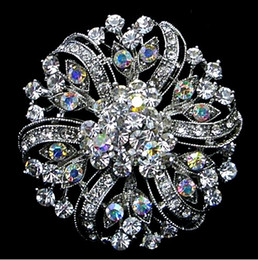 Wholesale celtic silver brooch - 2 Inch Rhodium Silver Plated Clear and Clear AB Crystal Large Flower Crystal Victorian Style Sparkly Brooch