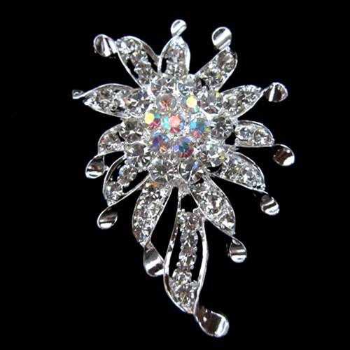 Envío gratis ! Broche plateado plata de la flor cristalina del Rhinestone para casarse