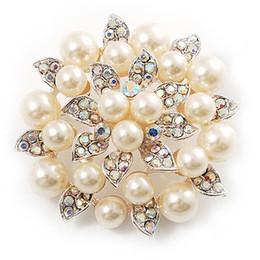 Wholesale Large Pearl Flower Brooch - Beautiful Silver Plated Cream Pearl and AB Rhinestone Crystal Large Leaf Flower Bridal Brooch
