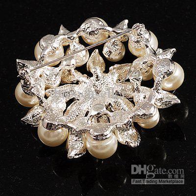 Belle broche en argent plaqué crème et AB strass cristal grande feuille fleur broche de mariée