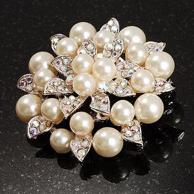 Hermosa perla plateada crema y ab Rhinestone Crystal gran flor nupcial broche