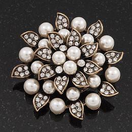 $enCountryForm.capitalKeyWord Canada - Antique Copper Plated Clear Rhinestone Crystal and Cream Pearl Leaf Flower Bridal Brooch