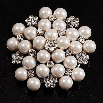 Rhodium Silver Plated Cream Imitation Pearl Cluster och Rhinestone Crystal Diamante Bridal Brosch Party Prom Pin