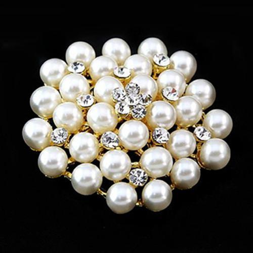 KC plaqué or crème perle et cristal strass clair mariée / mariage broche broche