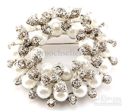 Silver Plated Ivory Pearl and Clear Rhinestone Crystal Wreath Brooch