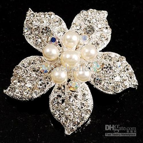 Güzel Gümüş Kaplama Rhinestone Kristal Krem Inci Yıldız Korsaj Çiçek Broş