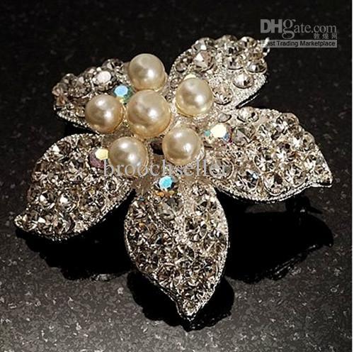 Vacker Silver Plated Rhinestone Crystal Cream Pearl Star Corsage Flower Brosch