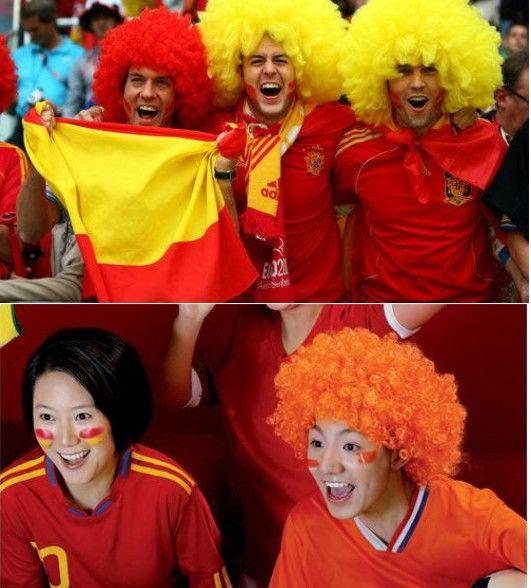 Regenboog afro disco clown kind volwassen kostuum voetbal fan pruik haar halloween voetbal ventilator plezier