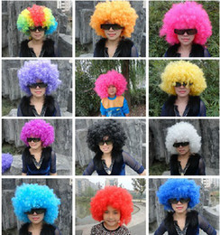 Wholesale Fun Halloween Costumes - Rainbow Afro disco Clown Child Adult Costume Football Fan Wig Hair Halloween Football Fan Fun