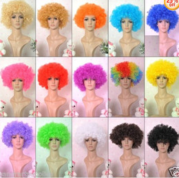 Wholesale Adult Rainbow Costume - Halloween disco curly wig Rainbow Afro wigs Clown Child Adult Costume Football Fan Wig Hair Fan Fun