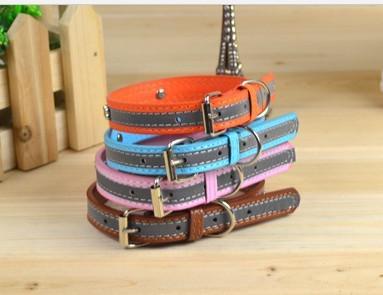 Ajustável Couro Segurança Reflective PU Collar Dog Collar moda cores misturadas